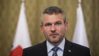 Slovakia's Prime Minister Peter Pellegrini attends a press conference at the Government Office in Bratislava, Slovakia on May 15, 2018.  / AFP PHOTO / VLADIMIR SIMICEK
