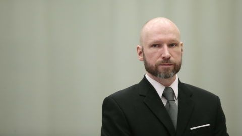 Anders Behring Breivik is pictured on the last day of the appeal case in Borgarting Court of Appeal at Telemark prison in Skien, Norway, January 18, 2017. / AFP PHOTO / NTB Scanpix / Lise AASERUD / Norway OUT