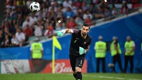 Rui PATRICIO, goalie (POR), throws the ball off, action, single action, single shot, cut out, full body shot, full figure. Portugal (POR) - Spain (ESP) 3-3, Preliminary Round, Group B, Game 1, on 15.06.2018 in SOCHI, Fisht Olymipic Stadium. Football World Cup 2018 in Russia from 14.06. - 15.07.2018.   usage worldwide
