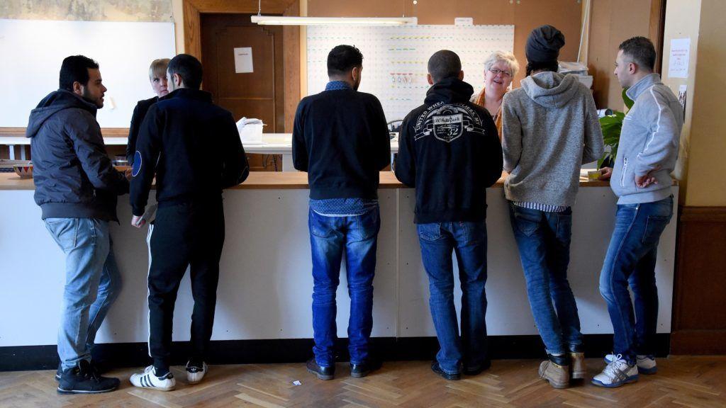 Refugees at the asylum centre in Soenderborg, Denmark, 4 March 2016. Photo: Carsten Rehder/dpa
