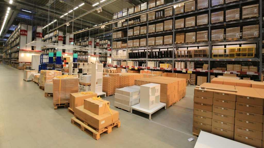 Technicians working in the self-service warehouse of the IKEAstore in Magdeburg, Germany, 23 August 2017. The store opens on 31 August 2017. Photo: Peter Gercke/dpa-Zentralbild/ZB