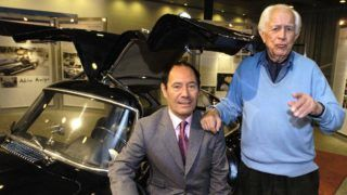 (dpa) - Claude Picasso (L), son of legendary painter Pablo Picasso, and photo journalist David Douglas Duncan talk in front of a black Mercedes-Benz 300 SL at the Mercedes-Benz museum in Stuttgart, Germany, 26 October 2004. Duncan drove 450,000 kilometres in the car and then gave it to Picasso in 1996 as a present. The 'Black Torpedo', which Picasso drives regularly, can be seen at the museum as part of the 'Adventures of a Gullwing' exhibition until 7 November 2004.