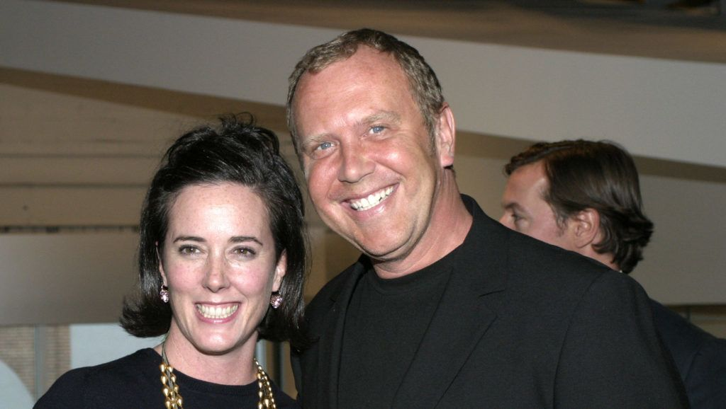"""FILE - 5 JUNE 2018: The Fashion Designer Kate Spade, 55, was found dead on June 5, 2018 in her New York City apartment of a reportedly possible suicide. NEW YORK - APRIL 22: Kate Spade and Michael Kors pose at the CFDA hosted viewing of MOMA's """"Fashioning Fiction in Photography Since 1990"""" April 22, 2004 in Queens, New York.   Andrew Kent/Getty Images/AFP"""