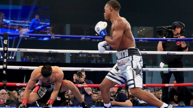 FRISCO, TX - JUNE 16: Errol Spence Jr. knocks out Carlos Ocampo in the first round of a IBF Welterweight Championship bout at The Ford Center at The Star on June 16, 2018 in Frisco, Texas.   Tom Pennington/Getty Images/AFP
