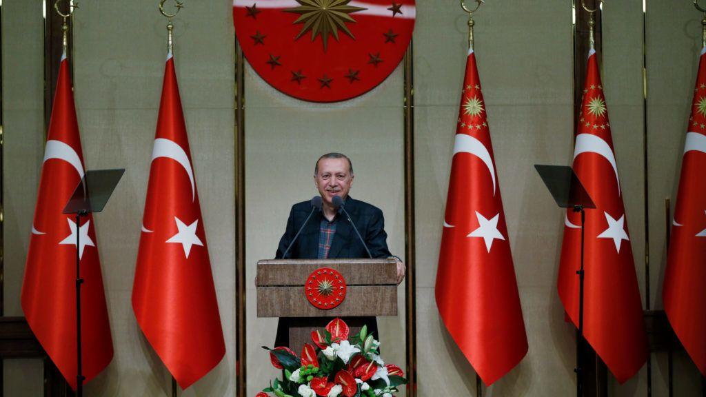 ANKARA, TURKEY - JUNE 7: President of Turkey Recep Tayyip Erdogan delivers a speech during an iftar (fast-breaking) program for mukhtars, heads of Turkish villages and neighborhoods, at the Presidential Complex in Ankara, Turkey on June 7, 2018. Murat Kula / Anadolu Agency