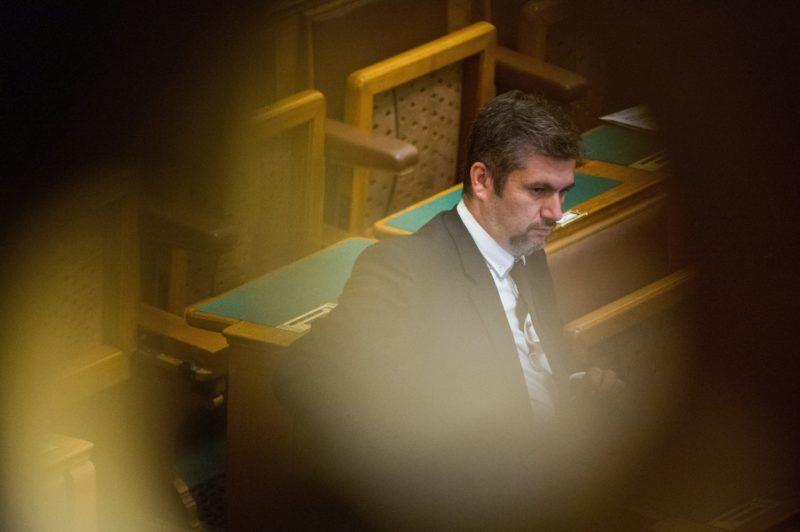Budapest, 2018. június 4. Hadházy Ákos, az LMP parlamenti képviselõje az Országgyûlés plenáris ülésén 2018. június 4-én. MTI Fotó: Balogh Zoltán
