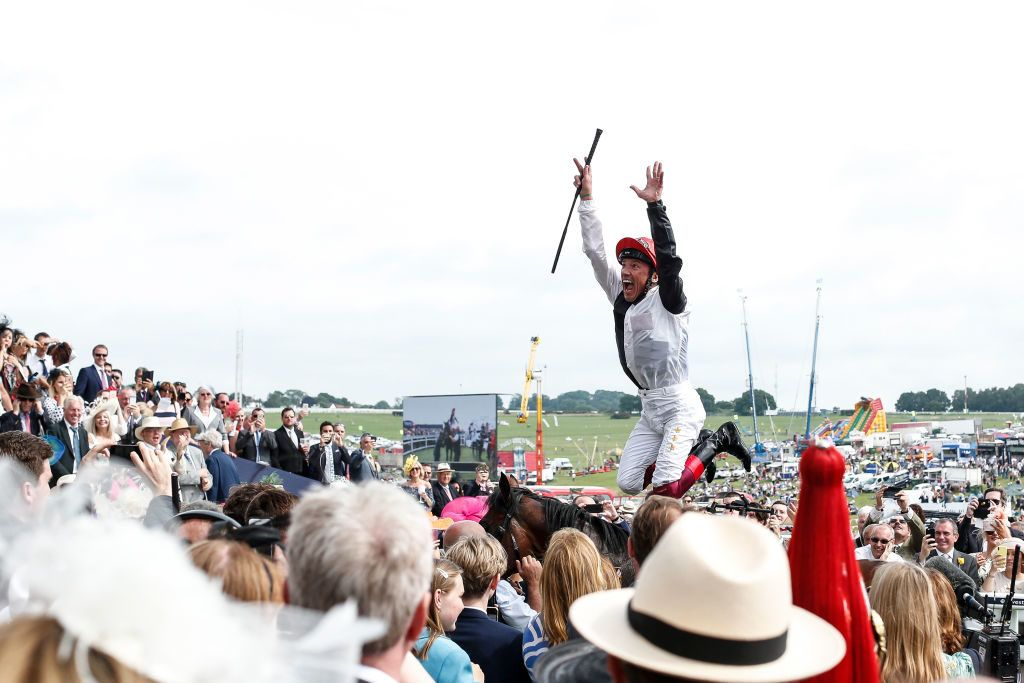 EPSOM, ENGLAND - JUNE 01:  Frankie Dettori celebrates after riding Cracksman to win The Investec Coronation Cup during the Investec Ladies Day at Epsom Downs Racecourse on June 1, 2018 in Epsom, United Kingdom. (Photo by Alan Crowhurst/Getty Images)
