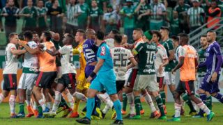 SAO PAULO, BRAZIL - JUNE 13: Palmeiras and Flamengo team players fight during a match for the Brasileirao Series A 2018 at Allianz Parque Stadium on June 13, 2018 in Sao Paulo, Brazil. (Photo by Miguel Schincariol/Getty Images)