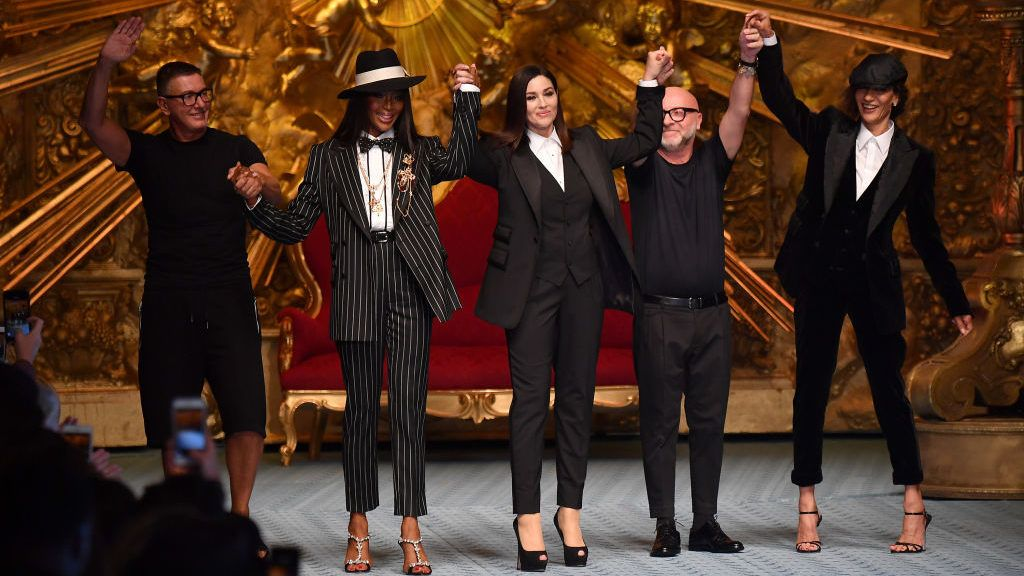 MILAN, ITALY - JUNE 16:  Stefano Gabbana; Naomi Campbell; Monica Bellucci; Domenico Dolce and Marpessa walk the runway at the Dolce & Gabbana show during Milan Men's Fashion Week Spring/Summer 2019 on June 16, 2018 in Milan, Italy.  (Photo by Jacopo Raule/Getty Images)