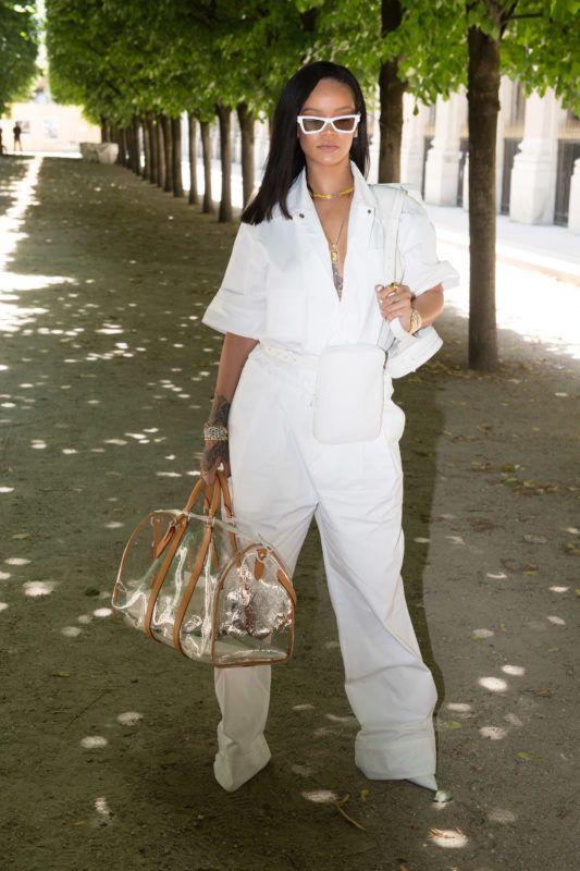 PARIS, FRANCE - JUNE 21:  Rihanna attends the Louis Vuitton Menswear Spring/Summer 2019 show as part of Paris Fashion Week  Week on June 21, 2018 in Paris, France.  (Photo by Stephane Cardinale - Corbis/Corbis via Getty Images)