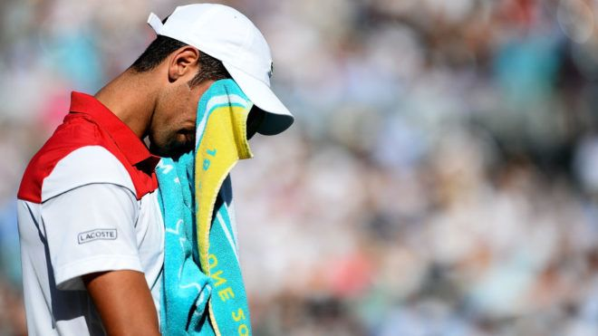 LONDON, ENGLAND - JUNE 24:  Novak Djokovic of Serbia reacts during his match against Marin Cilic of Croatia on Day Seven of the Fever-Tree Championships at Queens Club on June 24, 2018 in London, United Kingdom.  (Photo by Patrik Lundin/Getty Images for LTA)