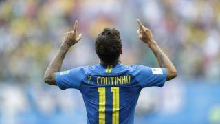 Szentpétervár, 2018. június 22. A brazil Coutinho ünnepel, miután gólt szerzett az oroszországi labdarúgó-világbajnokság E csoportjának második fordulójában játszott Brazília - Costa Rica mérkõzésen a Szentpétervár Stadionban 2018. június 22-én. (MTI/AP/Petr David Josek)