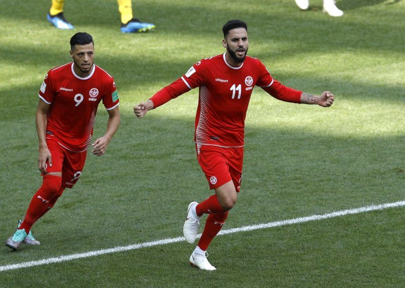 Moszkva, 2018. június 23. A tunéziai Dylan Bronn (j) ünnepel, miután gólt szerzett az oroszországi labdarúgó-világbajnokság G csoportjának második fordulójában játszott Belgium – Tunézia mérkõzésen a moszkvai Szpartak Stadionban 2018. június 23-án. (MTI/AP/Victor Caivano)