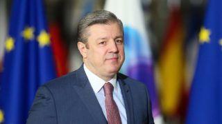 Brüsszel, 2017. november 24. Giorgi Kvirikasvili georgiai miniszterelnök az Európai Unió és a Keleti Partnerség országainak brüsszeli csúcstalálkozójára érkezik 2017. november 24-én. (MTI/EPA/Stephanie Lecocq)