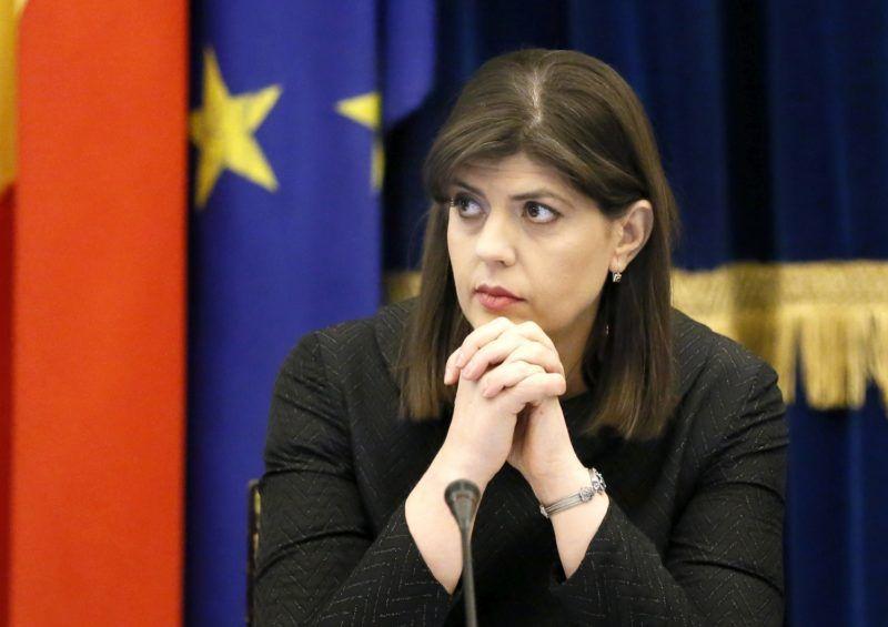 Bukarest, 2018. február 28. Laura Codruta Kövesi, a román Nemzeti Korrupcióellenes Igazgatóságot (DNA) vezetõ fõügyész a DNA bukaresti évértékelõ értekezletén 2018. február 28-án. (MTI/EPA/Robert Ghement)