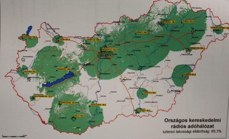 Az induló Retro Rádió lefedettségi térképe. Fotó: 24.hu (a rádió médiapályázata alapján)