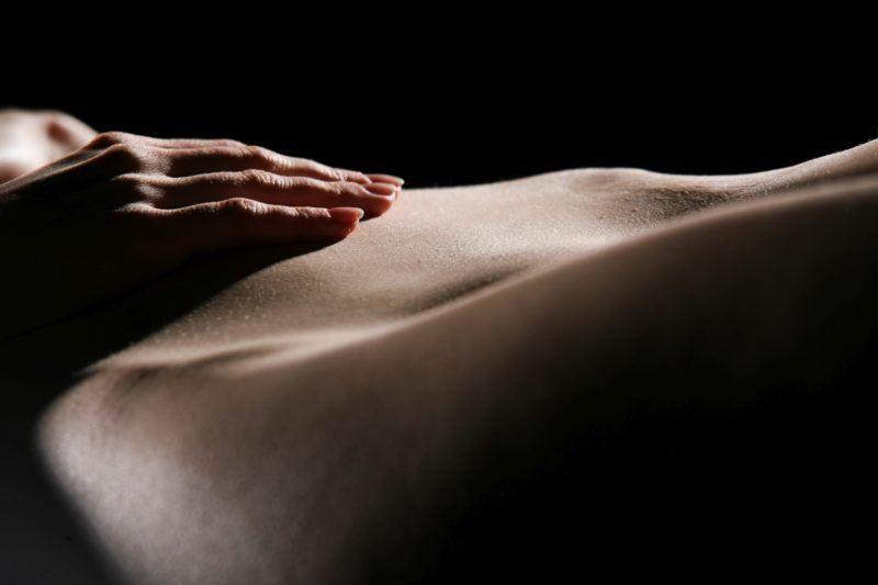 Beautiful silhouette of nude sensual erotic woman