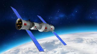 3D model of China's Tiangong-1 space station orbiting the planet Earth. 3D rendering
