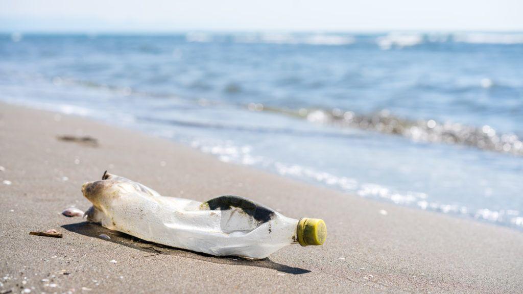 Empty plastic bottle on the shore of once beautiful Velika Plaza near Ulcinj, Montenegro