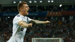 Germany's midfielder Toni Kroos celebrates after scoring a goal during the Russia 2018 World Cup Group F football match between Germany and Sweden at the Fisht Stadium in Sochi on June 23, 2018. / AFP PHOTO / Odd ANDERSEN / RESTRICTED TO EDITORIAL USE - NO MOBILE PUSH ALERTS/DOWNLOADS