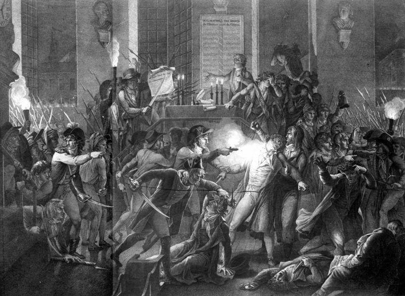 Robespierre a la mâchoire fracassée par le gendarme Merda, la nuit du 9 au 10 Thermidor An II (1794). Dessin de F.J. Harriet, gravure de Tassaert.     FA-1799