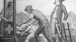 Exécution de Maximilien de Robespierre (1758-1794), révolutionnaire français, le 28 juillet 1794. Gravure de J. Idnarpila (anagramme d'Aliprandi) d'aprčs J. Beys. Paris, B.N.      FA-12835