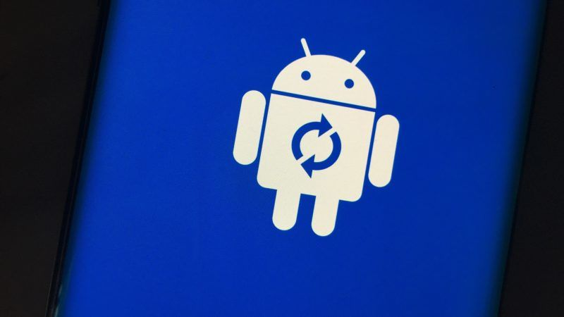 A logo of Google's Android is displayed on a mobile.
