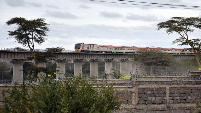 Passenger train to Mombasa on 14.08.2017 near Nairobi - Kenia. | usage worldwide
