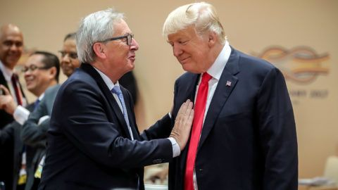 American president Donald Trump greets the president of the EuropeanComission Jean-Claude Juncker at the Partnership with Africa working session, the third session of the G20 summit in Hamburg, Germany, 8 July 2017. The two-day summit, a meeting of the leaders of the twenty largest world economies as well as representatives of a variety of international institutions, concludes today. Photo: Michael Kappeler/dpa