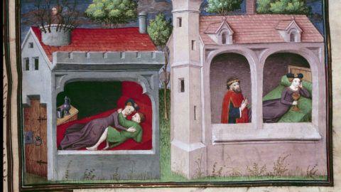 """Scene galante : deux couples s'entretenant. Page d'un manuscrit en francais du """"Decameron"""" de Giovanni Boccaccio dit Jean Boccace (1313-1375), ecrivain italien, enlumine par le Maitre du Mansel. 1450. Paris, Bibliotheque de l'Arsenal"""