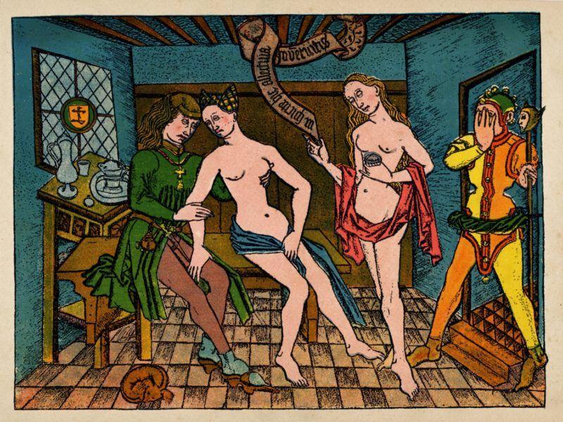 """Scene de prostitution au moyen age : prostituees et client dans une maison close. Un bouffon a droite se cache les yeux pour ne pas voir la scene. Gravure du 16eme siecle tiree du traite sur l'erotisme """"Illustrierte Sittenfeschichte"""" de Eduard Fuchs, 1909 ©Fototeca/Leemage"""