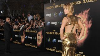 LOS ANGELES, CA - MARCH 12: Actress Jennifer Lawrence arrives at the premiere of Lionsgate's 'The Hunger Games' at Nokia Theatre L.A. Live on March 12, 2012 in Los Angeles, California.   Jason Merritt/Getty Images/AFP