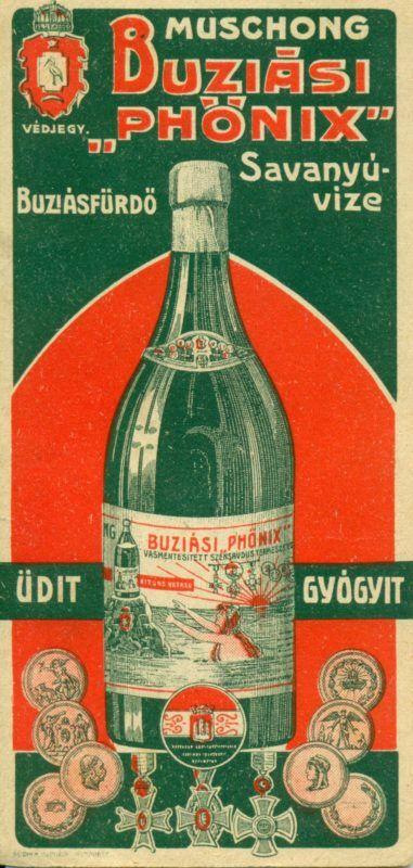 """- Muschong Buziási Phönix savanyúvize számolócédulája. Buziásfürdő város Romániában, a Bánságban, Temes megyében. 1876-ban a vasúttal kapott új lendületet a fürdőélet. A telepet 1903-ban Muschong Jakab lugosi téglagyáros vásárolta meg, aki próbafúrásokat rendelt el. Még ugyanazon évben egy 103 méter mély furatból 35 méter magas vízoszlop lövellt föl. Ennek sós-szénsavas vize alkalmas volt a gyomorbaj és a köszvény gyógyítására, ezért hamar ellepték a betegek és Szent Antal csodakútjának (vagy Szent Antal-gejzírnek) nevezték el. Eköré Muschong csónakázótavat létesített. 1907-ig további tizenegy kutat fúratott. 1910 körül a fürdőtelep a tavon kívül egy százholdas díszparkból, szállodákból, ivócsarnokokból, gyógyfürdőkből, fedett sétányokból és teniszpályákból állt. A vasútállomásról kisvasút (""""Etelka"""") vitt a park közepéig. 1909-ben Muschong Phönix víz néven palackozni kezdte az egyik kút vizét, amelyből exportált is.  1898 szeptemberében Ferenc József és Ferenc Ferdinánd parancsnoksága alatt itt tartották a Monarchia nagy nyári hadgyakorlatát. A fürdőtelep 1948-ig Muschong egyik lányának tulajdona volt, akkor államosították.  A képen egy hölgy látható a palackozott vízzel. Kitüntetések és rendjelek."""