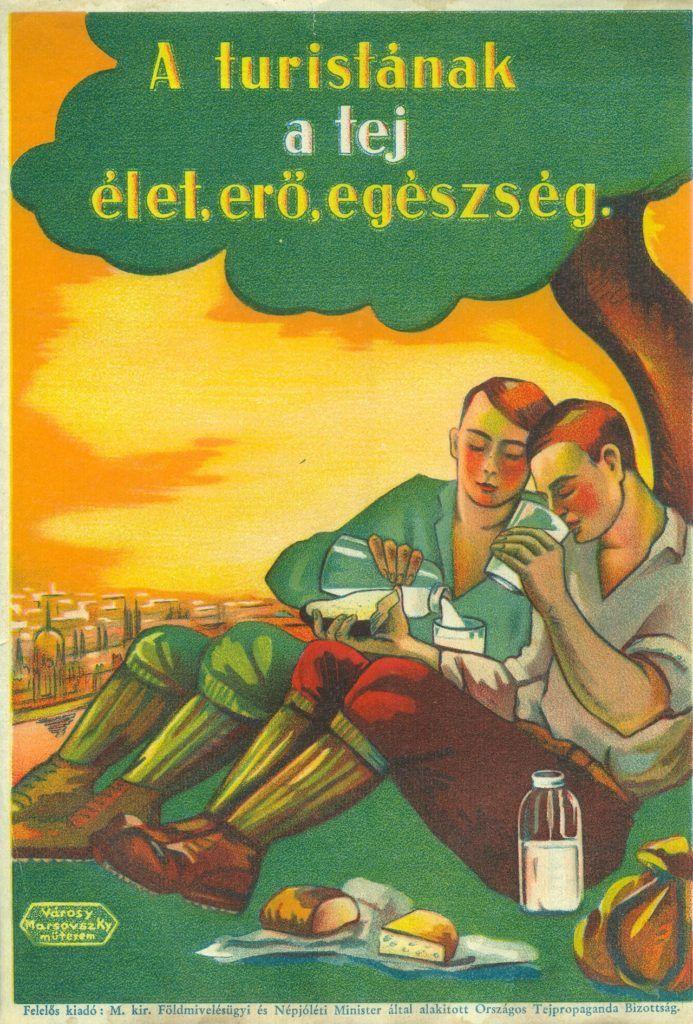 FőnÈzet - Tejet Ès tejfogyaszt·st rekl·mozÛ villamosplak·t. A kÈpen kÈt t˙r·zÛ l·thatÛ, akik egy fa alatt pihenve tejet isznak Ès kenyeret esznek sajttal.