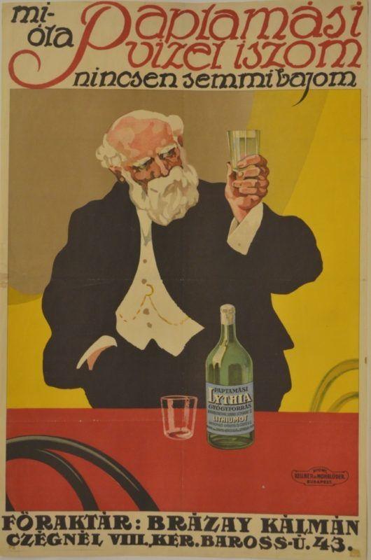Sárga háttér előtt, egy poharat a kezében tartó idős férfi áll, előtte piros terítős asztal, amin egy üveg ásványvíz van. Fölötte felirat: Mióta Paptamási vizet iszom, nincsen semmi bajom. Főraktár: Brázay Kálmán Czégénél, VIII.Ker. Baross u. 43.