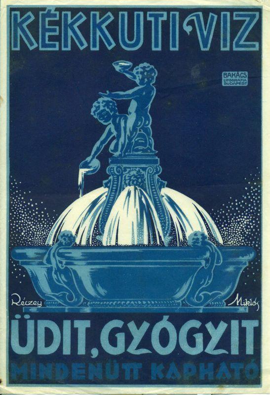 Főnézet - Kékkúti ásványvizet reklámozó villamosplakát. A képen egy kék szökőkút látható puttókkal.