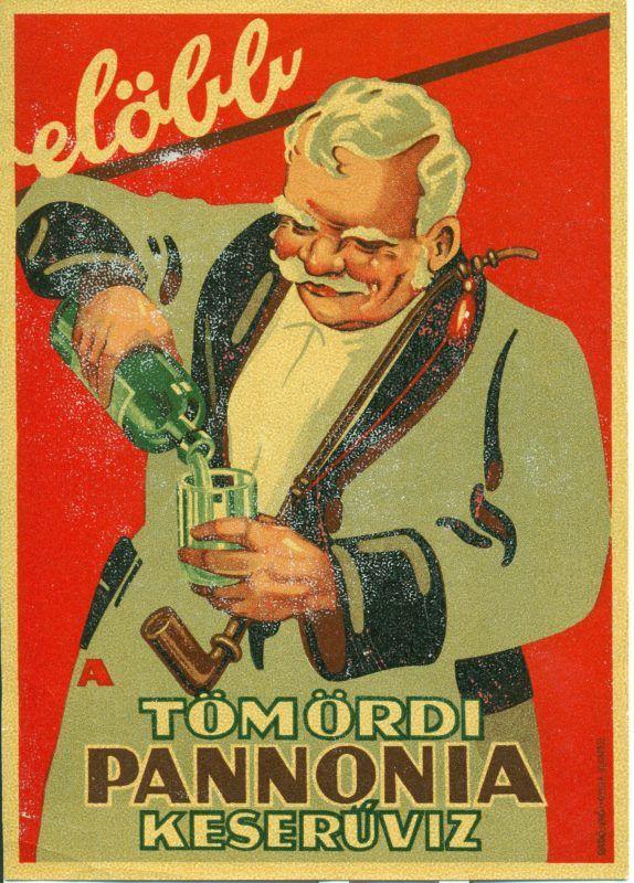 Főnézet - Tömördi Pannonia keserűvíz levonós villamosplakátja. A képen egy köpcös öregúr látható, amint egy palackból keserűvizet tölt.