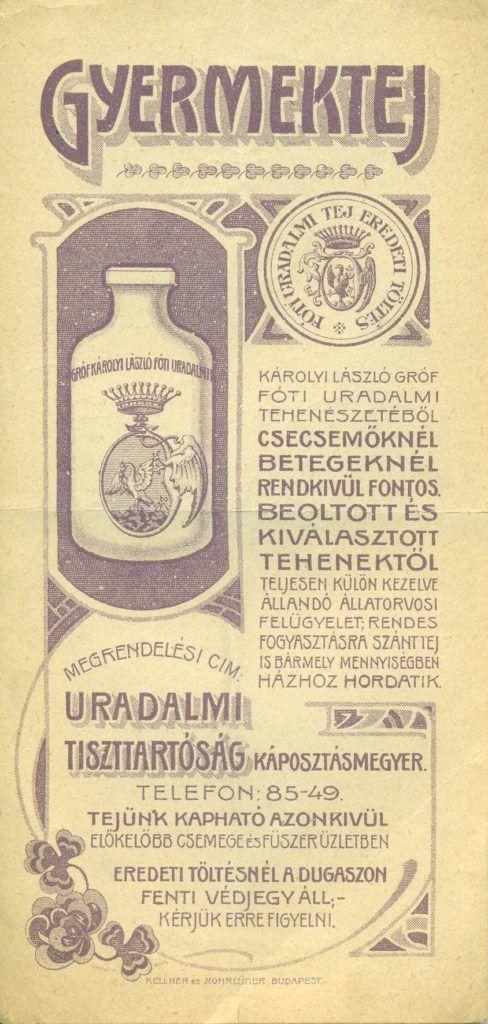 Gróf Károlyi László Fóti Uradalmi tehenészetéből való gyermektejet reklámozó számolócédula, tejesüveg ábrázolással, termékleírással, reklámszöveggel.