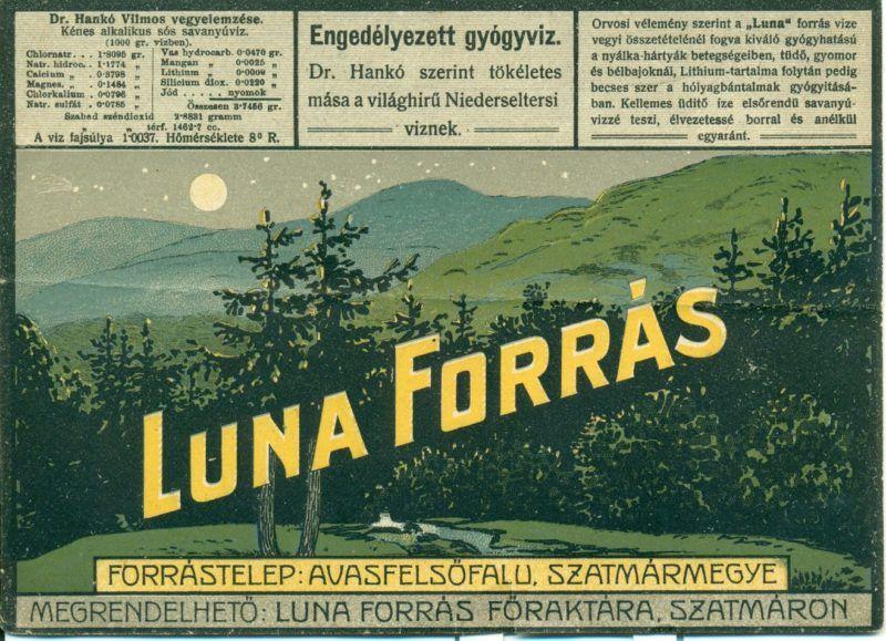 A címke felső részén feliratok találhatóak fehér alapon feketével, alatta pedig egy éjjeli tájkép a holddal. Felirat: Luna Forrás Forrástelep: Avasfelsőfalu, Szatmármegye. Megrendelhető: Luna forrás főraktára, Szatmáron