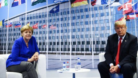 German Chancellor Angela Merkel (L) and US President Donald Trump (R) make a statement to the press after a bilateral meeting on the sidelines of the NATO (North Atlantic Treaty Organization) summit at the NATO headquarters, in Brussels, on July 11, 2018.    / AFP PHOTO / Brendan Smialowski