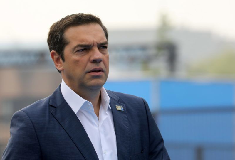 Greek Prime Minister Alexis Tsipras arrives for the second day of the NATO (North Atlantic Treaty Organization) summit, in Brussels, on July 12, 2018.  / AFP PHOTO / LUDOVIC MARIN