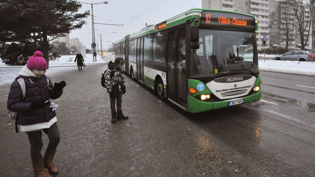 A bus drives on a street in Tallinn, on January 9, 2013. From January 1, 2013, residents of the Estonian capital can use public transports in Tallinn for free after purchasing a special card for 2 euros. AFP PHOTO / RAIGO PAJULA / AFP PHOTO / RAIGO PAJULA