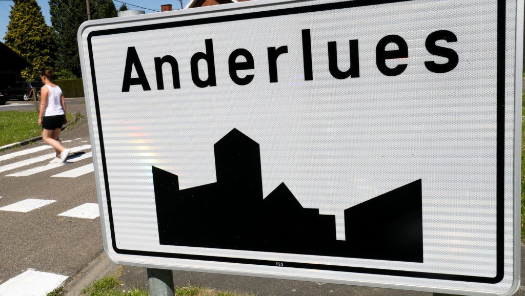Illustration shows the name of the Anderlues municipality on a road sign, Monday 07 May 2018. BELGA PHOTO VIRGINIE LEFOUR