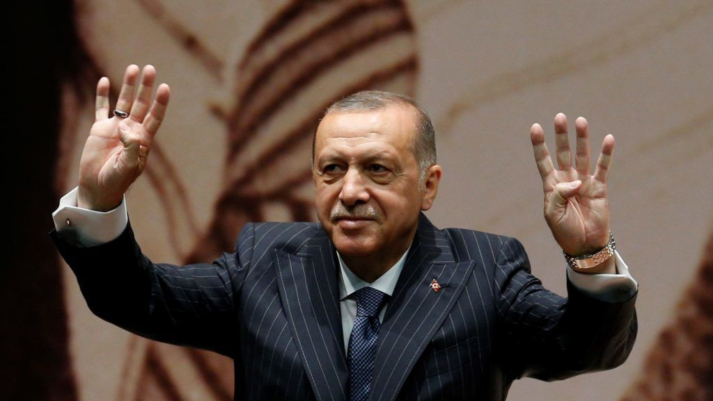 ANKARA, TURKEY - JULY 06 : President of Turkey and leader of the Justice and Development Party (AK Party) Recep Tayyip Erdogan greets the crowd during AK Party's extended meeting of provincial heads in Ankara, Turkey on July 06, 2018.  Murat Kaynak / Anadolu Agency