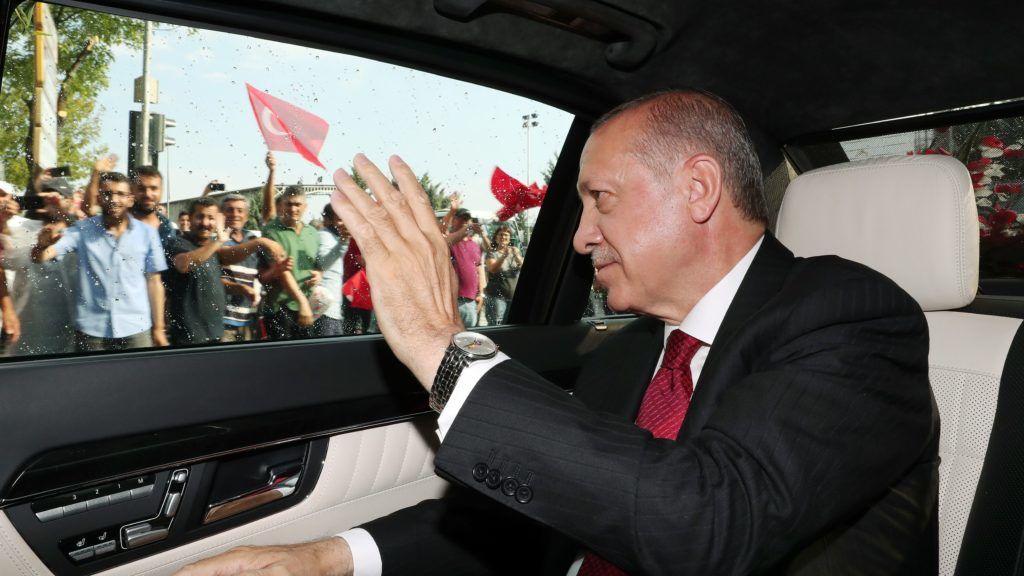 ANKARA, TURKEY - JULY 9: Turkish President Recep Tayyip Erdogan greets the crowd as he arrives at Grand National Assembly of Turkey (TBMM) to take oath of office in Ankara, Turkey on July 9, 2018. Kayhan Ozer / Anadolu Agency