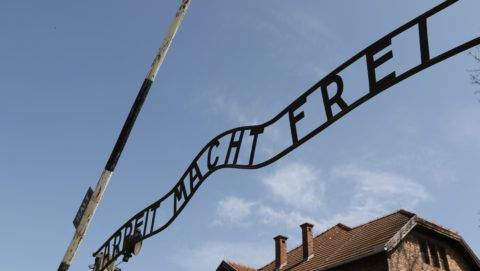 The Arbeit Macht Frei inscription on the Auschwitz gate is seen in Auschwitz I Death Camp in Oswiecim, Poland on 12 April 2018  Taking place annually on Yom Hashoah - Holocaust Remembrance Day - The March of the Living itself is a 3-kilometer walk from Auschwitz to Birkenau as a tribute to all victims of the Holocaust. (Photo by Michal Fludra/NurPhoto)