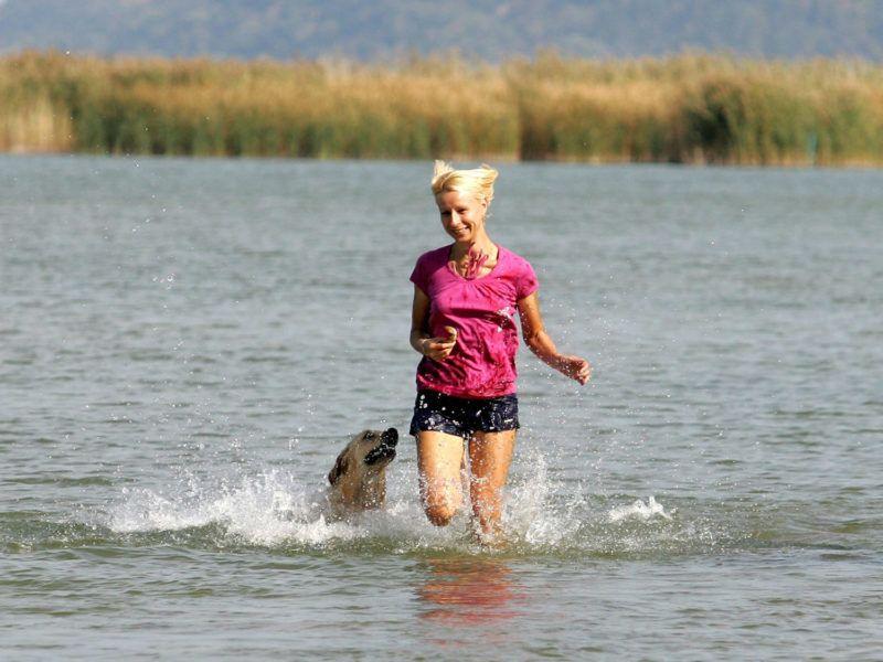 Balatonfenyves, 2009. október 8.Egy nő kutyájával játszik a 18 Celsius-fokos Balatonban a Somogy megyei Balatonfenyves strandján. Országszerte nyáriasan meleg az időjárás; a hőmérséklet csúcsértéke 24 és 29 Celsius-fok között alakul.MTI Fotó: Varga György