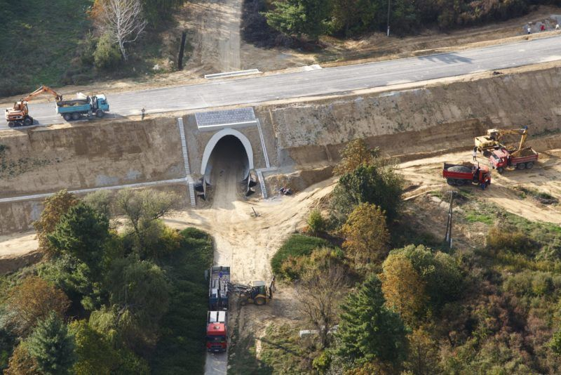 Nagykanizsa, 2015. október 5. Az épülõ 61-es út Nagykanizsát elkerülõ szakasza 2015. október 5-én készült légi felvételen. MTI Fotó: Varga György