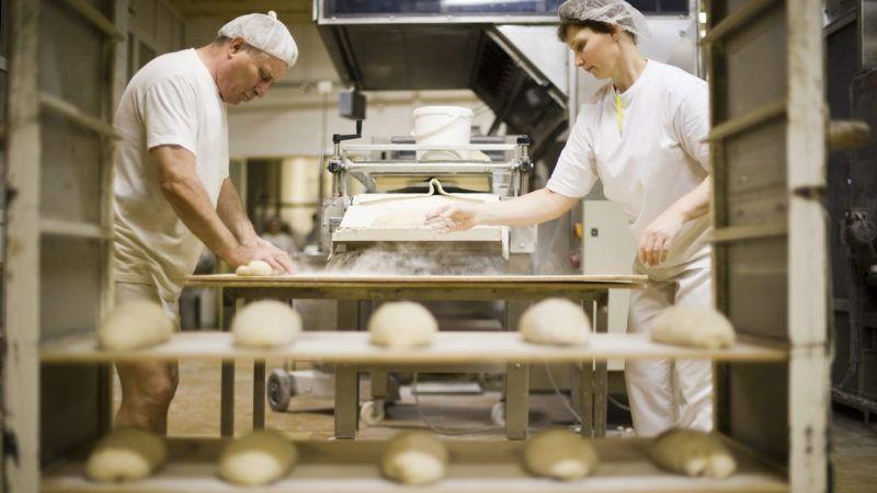 Nyíregyháza, 2011. február 11. Buga István és Kovács Judit pékek falapokra teszik a  kenyértésztát a Nyíregyházi- Kenyérgyár Kft. üzemében. A sütési veszteség miatt a kilós kenyér nyersen nehezebb. A pékek szerint a kenyér kilónkénti 30-35 forintos nettó áremelésére lenne szükség, hogy a hetente emelkedõ lisztárak miatt ne növeljék tovább veszteségeiket a friss, napi sütõipari termékek gyártása során. A liszt ára egy éve 55 forint volt kilónként, ma 100 forint, február végére pedig 110 forintra számítanak a pékek. A 150 dolgozót foglalkoztató Nyíregyházi- Kenyérgyár Kft. naponta 100 mázsa kenyeret, közel 60.000 db kiflit, zsemlét, valamint finompékárut és fagyasztott termékeket állít elõ. MTI Fotó: Balázs Attila