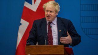 Budapest, 2018. március 2. Boris Johnson brit külügyminiszter sajtótájékoztatón beszél, amelyet Szijjártó Péter külgazdasági és külügyminiszterrel megbeszélésük után tartottak a Külgazdasági és Külügyminisztériumban 2018. március 2-án. MTI Fotó: Balogh Zoltán